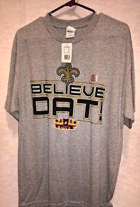 2010 New Orleans Saints SUPER BOWL XLIV Champions BELIEVE DAT (L) Grey T-SHIRT