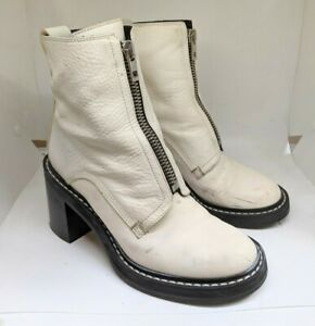 Rag & Bone Shiloh Zip Leather Boots Off White Women Size 38 Made in Italy