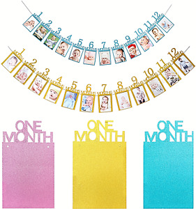 1st Birthday baby First 12 Months Photo Garland Bunting glittering Banner party