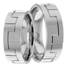 10K Gold Satin Finish His & Her Matching Wedding Ring Set 7mm