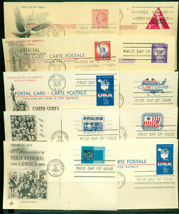 First Day Postal Card Group of 10 - Art Craft Cachet - 1951-1967 Issues