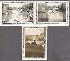 Lot of 3 Vintage Photos View of Army Truck Floating on Raft 705761