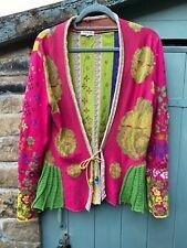 IVKO embroidered cardigan sz 40, M/L, vivivd raspberry, sage floral, 100% cotton