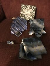 LOT OF 2 BLUE TIES WITH MATCHING HANDKERCHIEF HANKY & CUFFLINKS CUFF LINKS