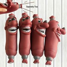 Pet Squeaky Toys Dogs Teeth Cleaning Toy Brown Pet Dog Chew Rubber Sausage Toy