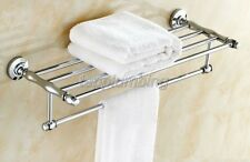 Polished Chrome Wall Bathroom Towel Rail Holder Storage Rack Shelf Bar