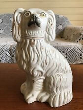 Vintage English Original Staffordshire Dog Figurine White Spaniel