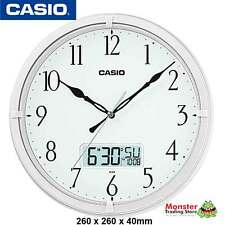 AUSSIE SELER CASIO WALL CLOCK IC-01-7DF WHITE WITH DAY & DATE 12-MONTH WARANTY