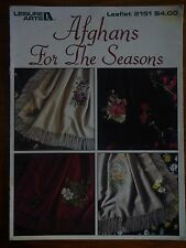 LEISURE ARTS LEAFLET 2151-CROSS STITCH PATTERN-AFGHANS FOR THE SEASONS-FLOWERS