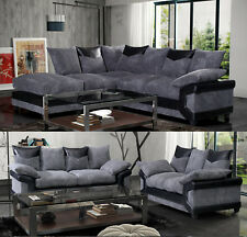 Dino Corner Sofa In Black-Grey or Brown-Beige With a Footstool Collection Set
