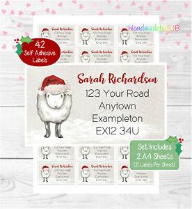 Sheep Personalised Christmas Address Labels, 42 Custom Return Stickers