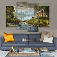 Multi Panel Print Hunting Cabin Lake Canvas Wall Art Mountain Wildlife 5 Piece