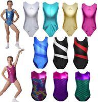 3-14Y Shiny Ballet Dance Gymnastics Leotards Athletic Tank Suit For Kids Girls