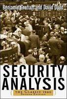 Security Analysis : The Classic 1940, Hardcover by Graham, Benjamin; Dodd, Da...