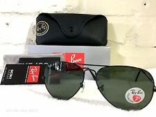 NEW Ray Ban RB 3025 Aviator Metal 002/58 Black/Green Polarized 58mm Sunglasses