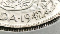 1942 Canada 50 Cents Wide Date WD Half Dollar Uncirculated George VI Coin R639