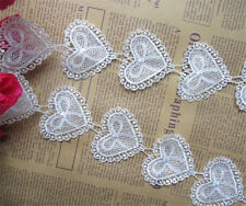 1 yard Vintage Heart Bow Lace Edge Trim Ribbon Wedding Applique DIY Sewing Craft