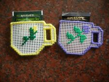 Set of 2 Needlepoint Teabag Holders that are in the of Teacups!