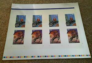 Vintage 1992 Champs Uncut Sheet Trading Card Santa Claus Mount Dracula Motocross