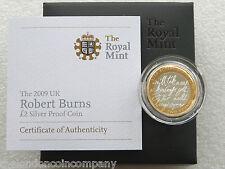 2009 Robert Burns £ 2 Due Pound Argento Proof MEDAGLIA BOX COA