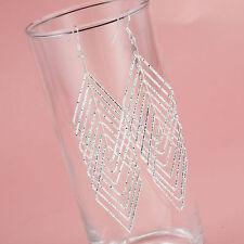 New Women Fashion 925 Sterling Silver Plated Dangle Multi Diamond Hoop Earrings