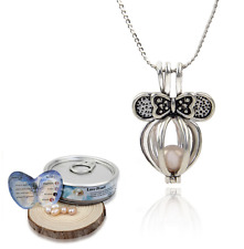 Luxury Women's Fashion Love Wish Pearl Necklace Set Oyster Drop Pendant Silver