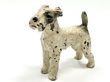 "Vtg Cast Iron Painted  Airedale  Paperweight Dog Figurine  2.5""x2.25"" Estate"