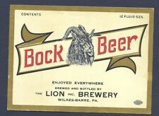 Lion Bock beer bottle label, Wilkes-Barre, Pa, Irtp era, probably U-Permit