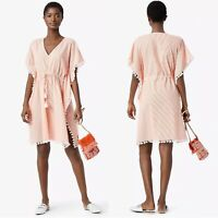 TORY BURCH Ravena Caftan Tunic Swim Cover Fresh Melon Ivory Women's L NEW $298