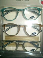NIB (3)  HALSTON PREMIUM READING GLASSES +2.50 Blue/Tortoise/Gray~