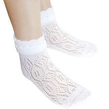 Niña Sin Costuras Algodón Pelerine Pointelle Tobillo Calcetines Escolares blanco