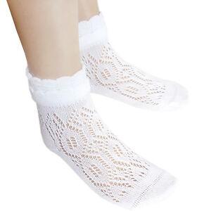3-14 years school girls white cotton ankle socks kids Pointelle short lace socks