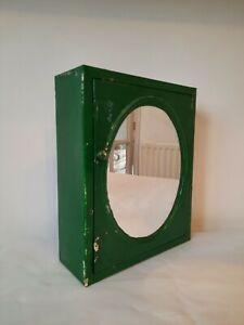 Vintage Wall Cabinet Bathroom Kitchen Medicine metal mirror paint green antique