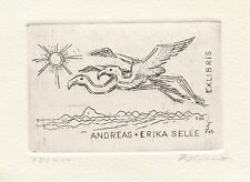 E. Zierold, Germany, Limited Edition Art Print Etching Ex libris Bookplate Birds