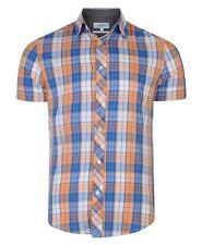 Mens EX Next Cotton Short Sleeve Shirt Checked Pinstripe Print Top S-xxl Medium Orange-blue