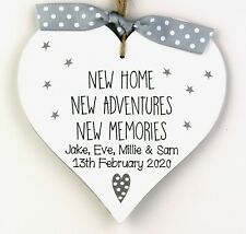 Personalised New Home Gift Heart Housewarming Plaque Sign Moving Memories House