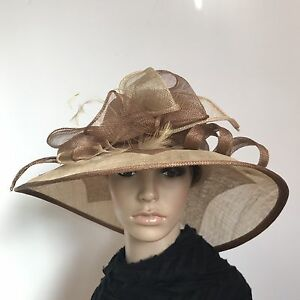 Ladies Brown Elegant Organza Formal Race Wedding Melbourne Cup Hat H412