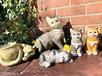 Cat Ornament outdoor Garden Sculptures Animal Lawn Statues Home Patio door decor