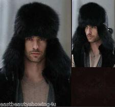 Men's Winter Black Hat Real Fox Fur&Lamb Leather Russian Ushanka Cossack Trapper