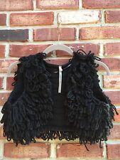 COP COPINE Fringe Crop Knit Vest Gilet 2 38 Black Wool Blend * SO RARE UNIQUE!