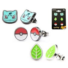 Pokemon NIP * Bulbasaur * Stud Earrings 3-Pack Poke Ball Green Plant Ear Rings
