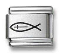 Laser Italian Charm Christian Fish 9 mm Stainless Steel Link Bracelets Religious