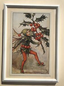 Flower Fairies framed print - Holly Fairy - Cicely Mary Barker 1926