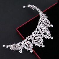Crystal Tiara Pageants Wedding Bride Headband Pearl Crown Rhinestone Bridal Hair