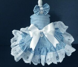 DOG DRESS HARNESS  COUNTRY BLUE WHITE CHECK   NEW   FREE SHIPPING