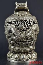 Collection Tibetan Silver Dragon Totem Hollow Out Big Incense Burner