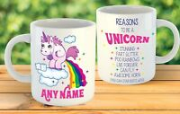 REASONS TO BE A UNICORN PERSONALISED BIRTHDAY GIFT MUG HIS HER RAINBOW GLITTER