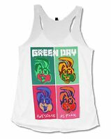 Green Day Awesome Girls Juniors White Racer Back Tank Top Shirt New Official