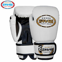 Farabi Junior Kids Boxing Gloves MMA 4 oz White Training MMA Kick Boxing Pads