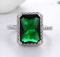 Huge Emerald Gemstone Ring Stunning  Green Silver Women's Wedding Jewelry